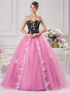 >> Click to Buy << Black Pink Ball Gown Prom Gowns Sweetheart White Lace Appliques Floor Length High School Prom Dresses Vestido De Fiesta #Affiliate