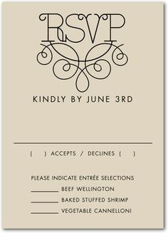 Signature White Wedding Response Cards Simplified Deco - Front : Black