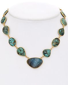 Rachel Reinhardt 14K Plated Turquoise & Labradorite Necklace