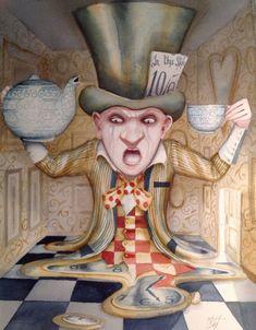Alice In Wonderland Art Original Painting Melting Mad Hatter  Dominic Murphy Art