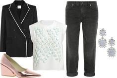 J Brand Ace Cropped Mi Rise Jean, $136.20, available at Net-A-Porter; Balmain Double-Breasted Wool-Blend Twill Blazer, $479.60, available at The Outnet; 3.1 Phillip Lim Embellished Dandelion Top, $655.84, available at Far Fetch; Cheap Monday Cube Pump Heeled Shoe, $87, available at ASOS; BCBGMAXAZRIA Scattered Stone Drop Earrings, $78, available at BCBG.