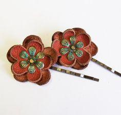 Leather flower bobby pin hair pin  set of 2, $9.00 #681team http://www.etsy.com/treasury/MTMyMjI5NDN8MjcyMDgxOTU0NQ/for-my-girl