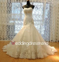 Beautiful Sweetheart Lace Mermaid Wedding Dress Bridal Gown