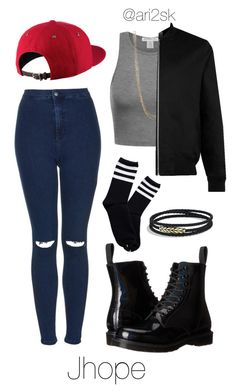 """Boy in love- Jhope "" by ari2sk ❤ liked on Polyvore featuring NIKE, Natasha, Topman, Topshop, Dr. Martens and David Yurman"