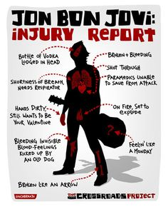 Injury Report of Jon Bon Jovi -funny humor Jon Bon Jovi, Bon Jovi Song, Bon Jovi Meme, Bon Jovi Always, Injury Report, 80s Hair Bands, Meme Center, Rockn Roll, Man Alive