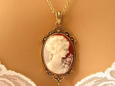 Peach Cameo: Victorian Woman Peach Cameo Necklace, Antiqued Gold, Vintage Inspired Romantic Victorian Jewelry, Romantic Gift for Her