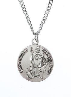 cf8494360f6 St Hubert of Liege Saint Medal Pendant w/18