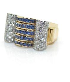 Bague Tank diamants et saphirs- Bijoux anciens Paris
