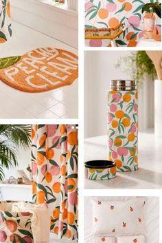 Ideas for Decorating a Peach Bathroom Peach Rooms, Peach Bedroom, Bedroom Themes, Bedroom Decor, Bedroom Ideas, Peach Comforter, Peach Shower Curtain, Peach Curtains, Peach Decor