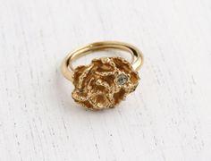 Vintage Flower Rhinestone Ring - 1970s Adjustable Gold Tone Signed Avon Floral Costume Jewelry / Flowerblaze by Maejean Vintage on Etsy, $15.00