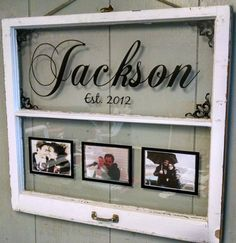 Vintage Window Two Pane Family Name Personalized Picture Frames - Fenster Old Window Crafts, Old Window Decor, Old Window Projects, Diy Projects, Old Window Ideas, Decor With Old Windows, Decorating Old Windows, Old Windows Painted, Old Window Art