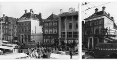 Gelkingestraat repair overhead contact line network Market South side trolley bus, 1960/Grote Markt zuidzijde hoek Gelkingestraat reparatie bovenleiding netwerk trolleybus , 1960
