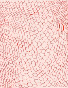 vladamira:    (via Abstract drawing red lines on light pink paper by okthread on Etsy)