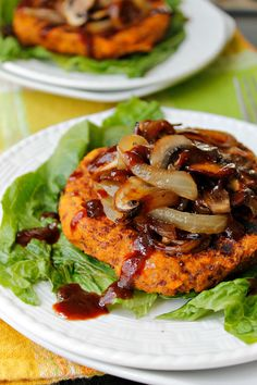 Quinoa Sweet Potato Patties with Caramelized Onions and Mushrooms ~ Fabtastic Eats