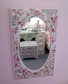 Shabby Gorgeous Pink China Mosaic Mirror by hillspeak, via Flickr