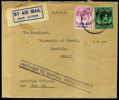 314754 - Lot 735 - Singapore - Covers - 1948 Straits Settlements BMA Malaya o/p's 10c & 50c, airmail Singapore… / MAD on Collections - Browse and find over 10,000 categories of collectables from around the world - antiques, stamps, coins, memorabilia, art, bottles, jewellery, furniture, medals, toys and more at madoncollections.com. Free to view - Free to Register - Visit today. #Stamps #PostalHistory #MADonCollections #MADonC