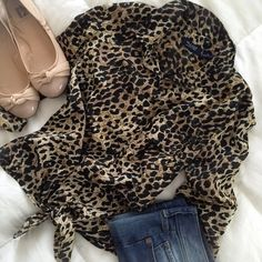 NWOT - Tie Waist Leopard Blouse/Shirt ✨HOST PICK✨ Never Worn - Fashion Leopard Shirt with one pocket and tie waist Boutique Tops Blouses