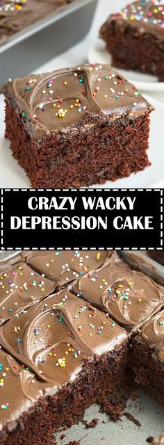This vintage depression cake recipe (wacky cake recipe) is quick and easy to make with simple ingredients in 1 bowl! Easy Desserts, Delicious Desserts, Dessert Recipes, Breakfast Recipes, Food Cakes, Cupcake Cakes, Wacky Cake Recipe, Crazy Cake Recipes, Pastries
