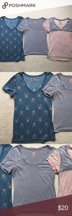 Urban Outfitters Nollie Tee Shirt Bundle Nollie Tee's from Urban Outfitters, in good condition, I just don't wear them anymore! Sizes from left to right: M, XS, XS All of these shirts can fit a small! Urban Outfitters Tops Tees - Short Sleeve
