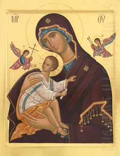 painted icon of theotokos of the passion
