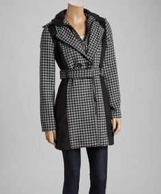 Another great find on #zulily! Yoki Gray & Black Houndstooth Trench Coat by Yoki #zulilyfinds