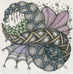 #Zentangle inspiration by my friend and fellow #CZT Sandy Hunter ❃ • ❋ • ❁ • tanglebucket • ✿ • ✽ • ❀ •   pretty colors!