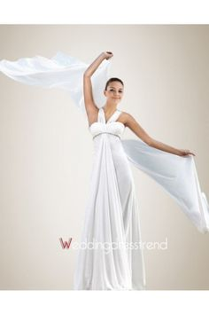 Elegant V Neck Criss-Crossed Chiffon Beach Wedding Gown - Beach Wedding Dresses - Wedding Dresses