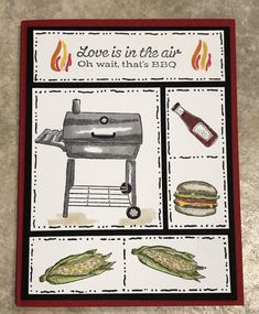 Outdoor Barbecue Stampin Up! Masculine Birthday Cards, Birthday Cards For Men, Masculine Cards, Guy Birthday, Stampin Up Karten, Stampin Up Cards, Fun Fold Cards, Folded Cards, Outdoor Barbeque