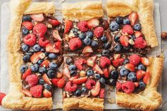 With creamy chocolate, rich hazelnut, and fresh berries, this delicious chocolate hazelnut and berry puff pastry tart is the perfect skinny dessert. Light Dessert Recipes, Light Desserts, Cute Desserts, Dessert Ideas, Low Calorie Desserts, Clean Eating Desserts, No Calorie Foods, Healthy Eating, Puff Pastry Recipes