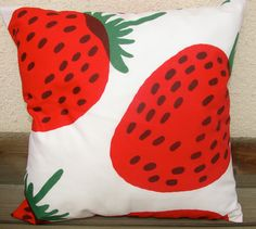 Mansikka, Strawberry Pillow Casing from Finland. 14x14. $28.00, via Etsy. #pinhonest