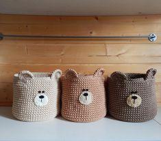 Bear nursery basket, Woodland basket, Crochet storage bear head basket, Woodland bear decor for nursery Crochet Bear, Crochet Home, Crochet Crafts, Yarn Crafts, Hand Crochet, Crochet Projects, Crochet Basket Pattern, Knit Basket, Baby Knitting Patterns