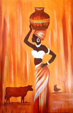 African Woman - Original oil painting available directly from Artist Loraine… African Wall Art, African Art Paintings, African Artwork, African Prints, African Fabric, African Drawings, Africa Painting, Afrique Art, African American Art