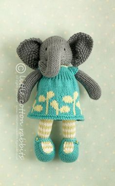 Emerald is a gorgeous sweet little elephant hand knitted with such love care and devotion by the ever so talented Little Cotton Rabbits Knitted Stuffed Animals, Knitted Bunnies, Knitted Animals, Knitted Dolls, Crochet Toys, Knitting Projects, Knitting Patterns, Rabbit Shop, Little Cotton Rabbits