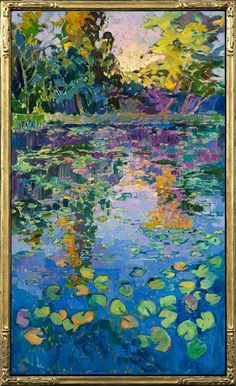Lilies oil painting waterscape in a 23kt gold leaf impressionist frame, by Erin Hanson.$10,000