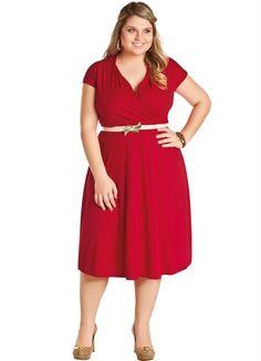Vestido Vermelho Decote em V Plus Size