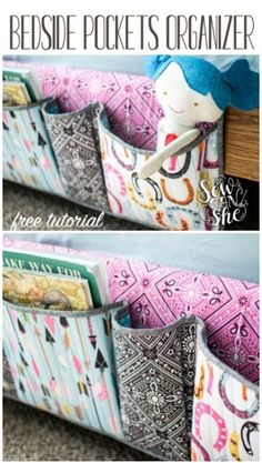 Free sewing pattern and tutorial for a bedside pocket organiser. Free sewing pattern and tutorial for a bedside pocket organiser. Great for the kids room, or for th Diy Sewing Projects, Sewing Projects For Beginners, Sewing Hacks, Sewing Tutorials, Sewing Crafts, Sewing Tips, Diy Gifts Sewing, Bags Sewing, Fabric Sewing