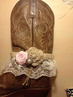 Reserved Listing Cowgirl Boot Bracelet Burlap and by LovCouture, $13.95