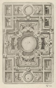 Design for a Ceiling with Strapwork and a Cross-shaped Center- Hans Jakob Ebelmann, 1609