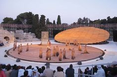 OMA's project for Teatro Greco, or the Syracuse Greek Theatre, Greek Chorus, Outdoor Stage, Set Design Theatre, House Sketch, Scale Design, Fantasy Places, Greek Art, Scenic Design, Biomes