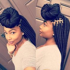 All styles of box braids to sublimate her hair afro On long box braids, everything is allowed! For fans of all kinds of buns, Afro braids in XXL bun bun work as well as the low glamorous bun Zoe Kravitz. Black Girl Braids, Braids For Black Hair, Girls Braids, African Braids Hairstyles, Girl Hairstyles, Braided Hairstyles, Hairstyles 2018, Hairstyle Braid, Small Box Braids Hairstyles