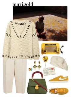 """Marigold"" by gcview ❤ liked on Polyvore featuring Valentino, Isabel Marant, Burberry, Black Apple, NIKE, Ottoman Hands, Zara, Christian Lacroix and marigold"