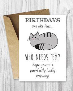 Funny Birthday Cards Cat Printable Digital Download Loaf Card