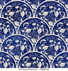 Seamless vector background. Beautiful floral round patterns. Imitation of chinese porcelain painting. Blue watercolor background. Hand drawing.
