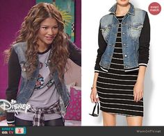 KC's denim varisty jacket with black sleeves on KC Undercover. Outfit Details: http://wornontv.net/46671/ #KCUndercover