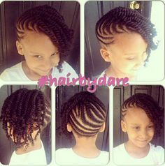 Flat twist updo for little one