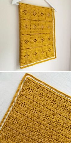 As soon as the summer starts transitioning into fall, I'm starting to see rich colors everywhere! The blanket in the photos is no exception, because it features the most beautiful shade of gold. I truly believe that baby blankets don't have to be pastel and sweet, and this version by Kate is a great example. Please notice simple edging, too - isn't it beautiful? #crochetpattern #filetcrochet