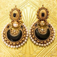 Gold Plated Black Chand Bali Earrings