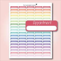 Pastel Appointment Boxes   Printable Planner Stickers for MAMBI and Erin Condren Planners - Instant Download (1.20 GBP) by HummingbirdPlanner