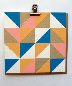 Hey Triangles - Hand Screenprinted Card.