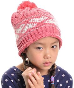 96bd2310b62 Pink Fair Isle Hearts Cable-Knit Pom-Pom Beanie